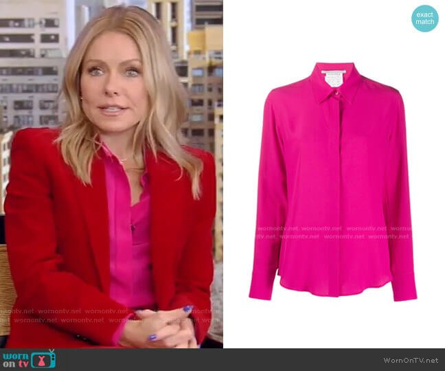 Willow Silk Crepe de Chine Shirt by Stella McCartney worn by Kelly Ripa  on Live with Kelly & Ryan