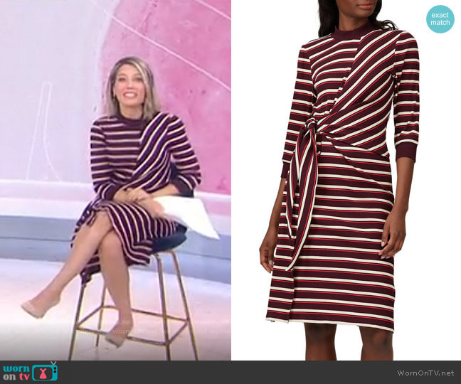 Striped Long Sleeve Tie Knot Dress by Kinly worn by Dylan Dreyer  on Today