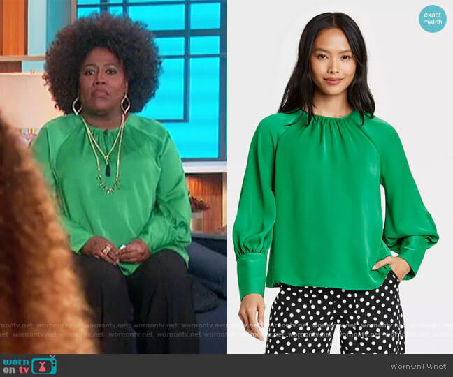 Balloon Long Sleeve High Cuff Blouse by Target worn by Sheryl Underwood  on The Talk