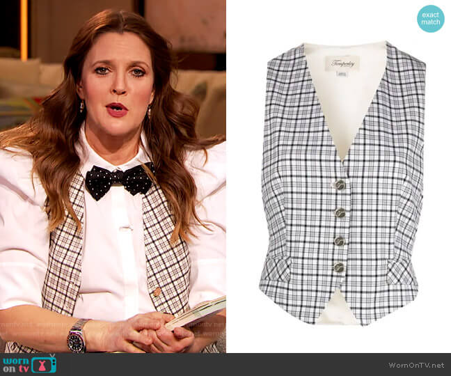 Ingenue tailored waistcoat by Temperley London worn by Drew Barrymore  on The Drew Barrymore Show