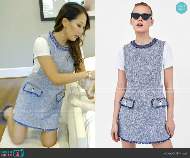 Textured Weave Dress with Buttons by Zara worn by Tiffany Moon  on The Real Housewives of Dallas