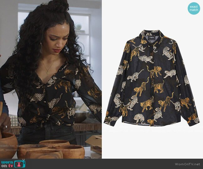 Tiger-print semi-sheer chiffon shirt by The Kooples worn by Olivia Baker (Samantha Logan) on All American