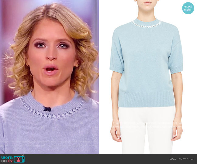 Cashmere Ribbon-Trim Crewneck Short-Sleeve Sweater by Theory worn by Sara Haines  on The View