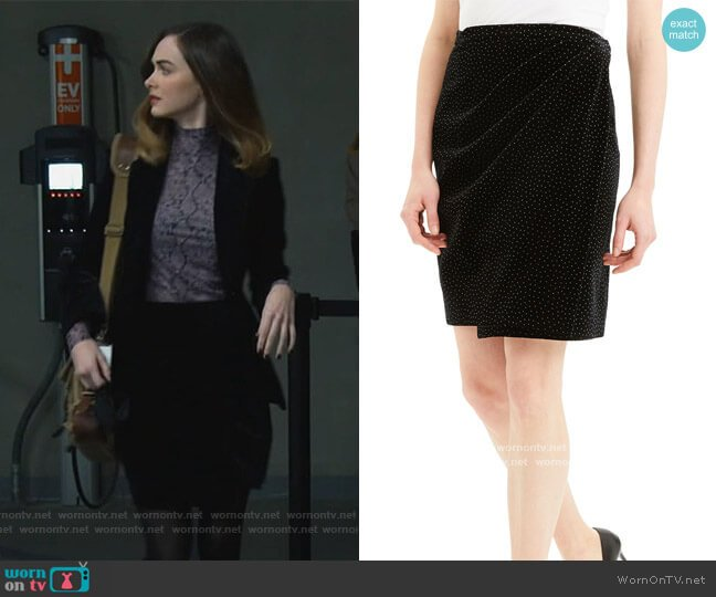 Dot Pleated Wrap Skirt by Theory worn by Samantha Powell (Audrey Corsa) on All Rise