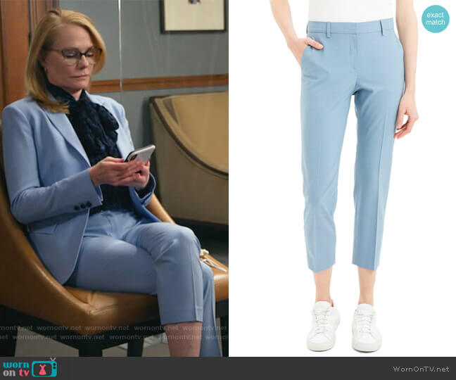 Treeca 2 Good Wool Crop Suit Pants by Theory worn by Lisa Benner (Marg Helgenberger) on All Rise