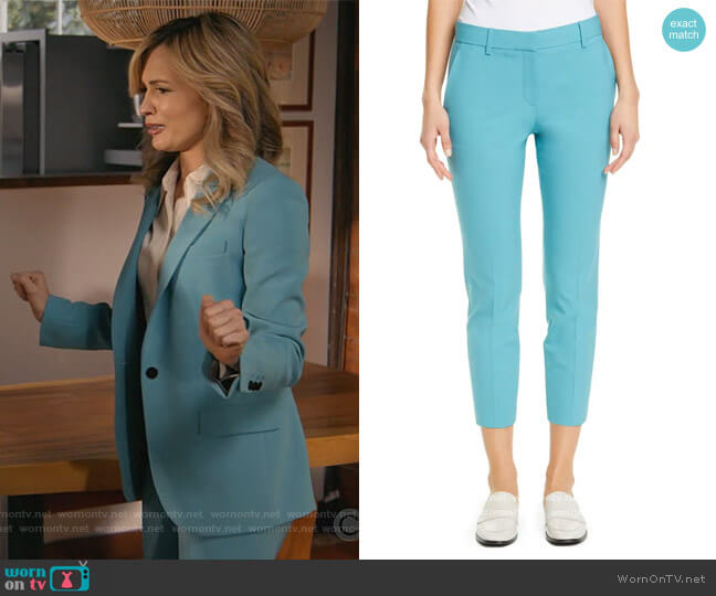 Treeca 2 Good Wool Crop Suit Pants by theory worn by Amy Quinn (Lindsey Gort) on All Rise