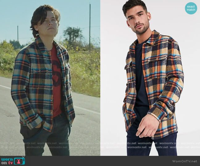 Topman checked overshirt in stone by ASOS worn by Jughead Jones (Cole Sprouse) on Riverdale