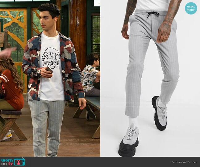 Smart Pants in Gray Stripe by Topman worn by Trevor Tordjman on Bunkd