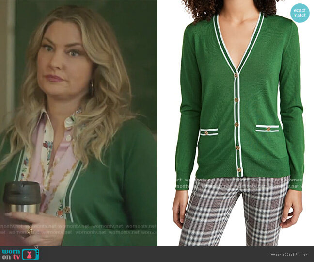 Colorblock Madeline Cardigan by Tory Burch worn by Alice Cooper (Mädchen Amick) on Riverdale