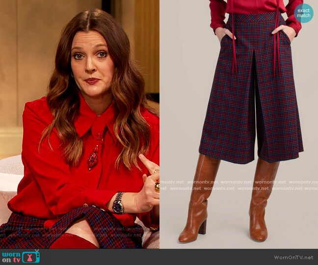 Prizzi Pants by Trina Turk worn by Drew Barrymore  on The Drew Barrymore Show