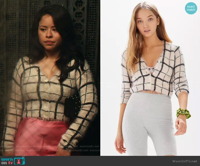 Cher Fuzzy Plaid Cropped Cardigan by Urban Outfitters worn by Mariana Foster (Cierra Ramirez) on Good Trouble