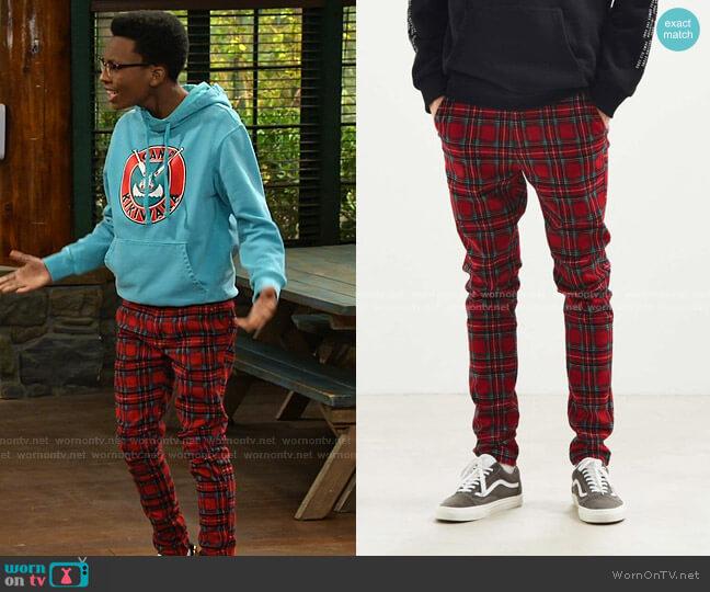Tartan Skinny Pant by Urban Outfitters worn by Noah Lambert (Israel Johnson) on Bunkd
