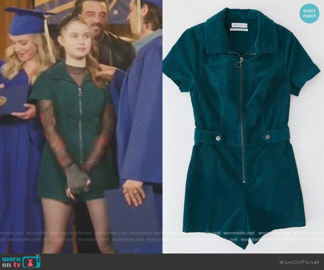 Tyson Zip-Front Short Sleeve Romper by Urban Outfitters worn by Trinity Likins on Riverdale