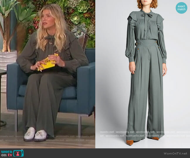 Tabitha Tie-Neck Ruffle Blouse and Pants by Ulla Johnson worn by Amanda Kloots  on The Talk