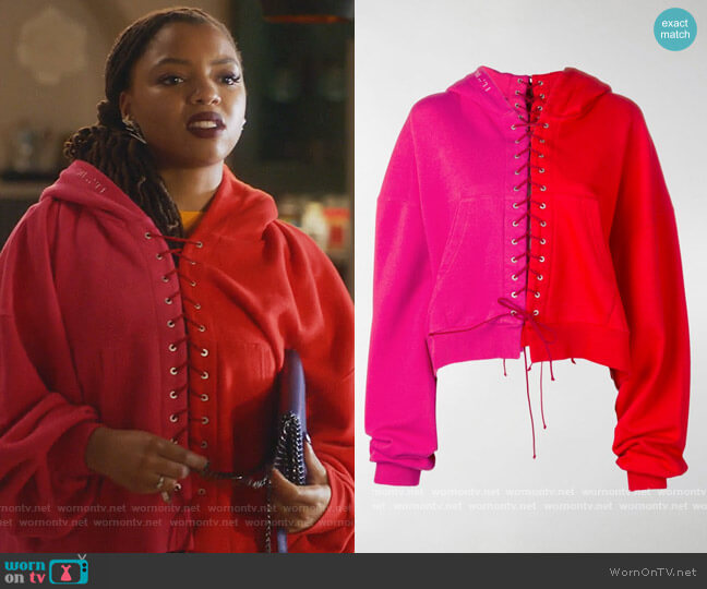 Terry lace-up Hoodie by Unravel Project worn by Jazlyn Forster (Chloe Bailey) on Grown-ish