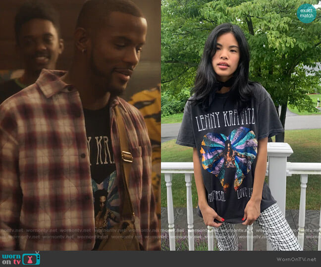 Lenny Kravitz Tour Tee by Urban Outfitters worn by Aaron Jackson (Trevor Jackson) on Grown-ish