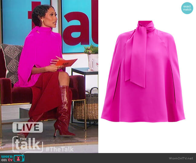 Tie-neck silk-cady cape blouse by Valentino worn by Elaine Welteroth  on The Talk