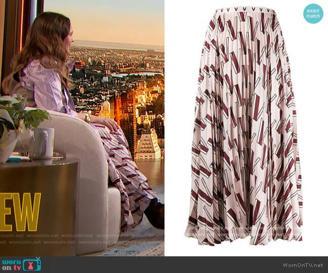 Printed Pleated Silk Midi Skirt by Valentino worn by Drew Barrymore  on The Drew Barrymore Show