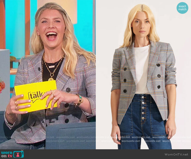 Empire Plaid Dickey Jacket by Veronica Beard worn by Amanda Kloots  on The Talk
