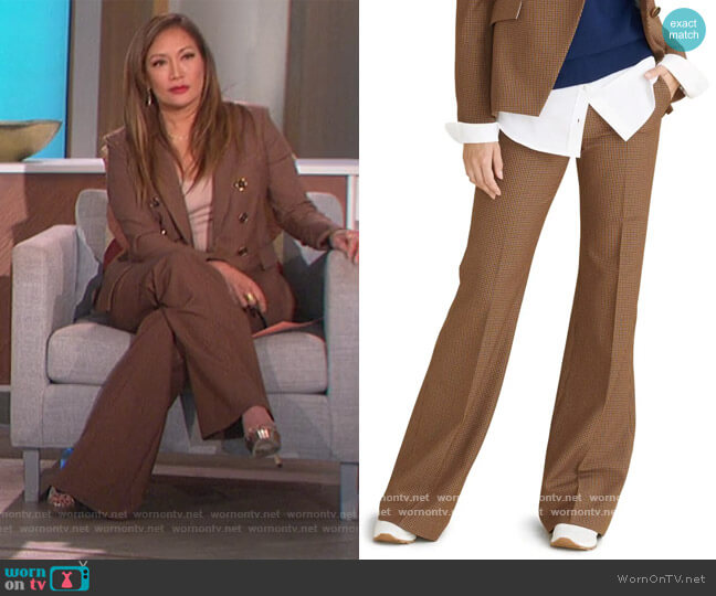 Lebone Micro Gingham Wide Leg Pants by Veronica Beard worn by Carrie Inaba  on The Talk