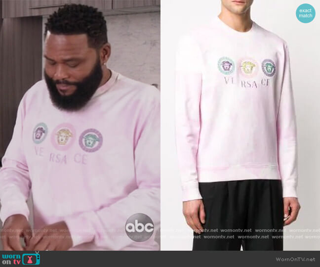 Medusa Embroidery Tie-dye Sweatshirt by Versace worn by Andre Johnson (Anthony Anderson) on Blackish