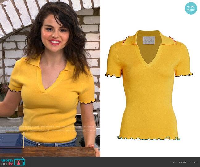 Victor Glemaud Open Neck Lettuce Edge Wool Polo Shirt worn by Selena Gomez  on Selena + Chef