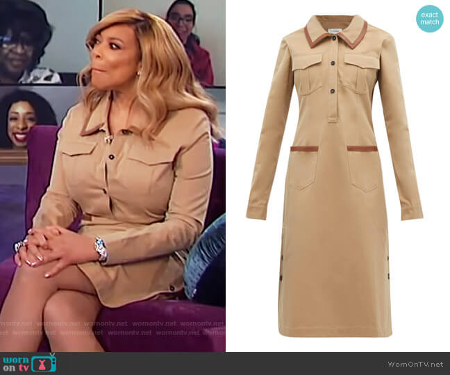 Leather-trimmed cotton shirtdress by Wales Bonner worn by Wendy Williams  on The Wendy Williams Show
