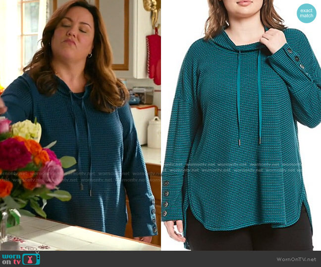 Plus Size Funnel Neck Button Cuff Waffle Knit Drawstring Top by Westbound worn by Katie Otto (Katy Mixon) on American Housewife