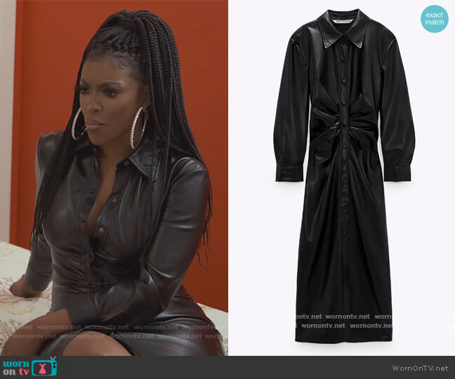 Faux Leather Shirt Dress by Zara worn by Porsha Williams  on The Real Housewives of Atlanta
