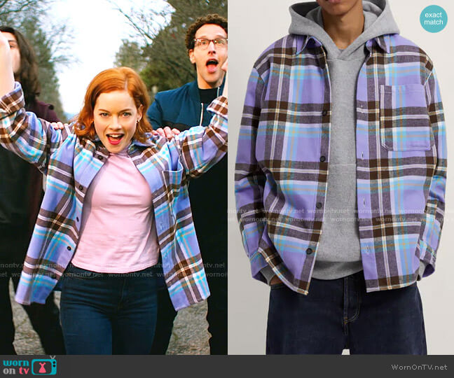 Flannel-Effect Check Overshirt by Zara worn by Zoey Clarke (Jane Levy) on Zoeys Extraordinary Playlist