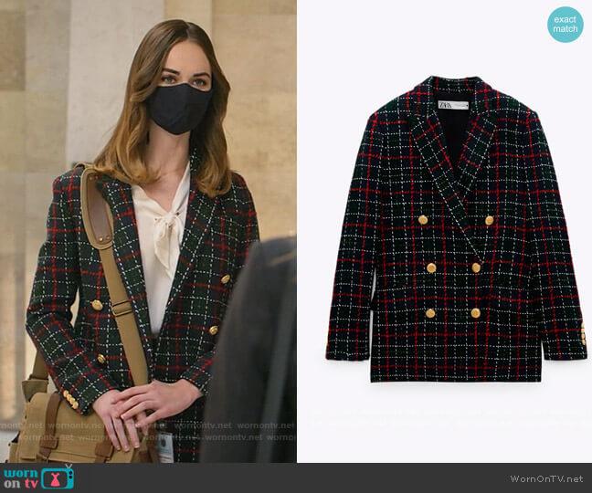 Plaid Blazer by Zara worn by Samantha Powell (Audrey Corsa) on All Rise