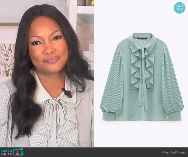 Ruffled Flowy Blouse by Zara worn by Garcelle Beauvais  on The Real