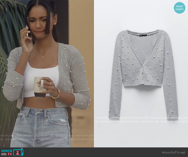 Soft Touch Cropped Cardigan with Faux Pearls worn by Layla Keating (Greta Onieogou) on All American