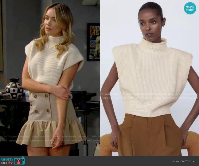 Zara Shoulder Pad Knit Top worn by Flo Fulton (Katrina Bowden) on The Bold & the Beautiful