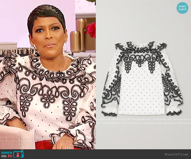 The Lovestruck Rope embroidered linen and silk-blend organza blouse by Zimmermann worn by Tamron Hall  on Tamron Hall Show