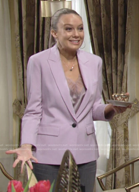 Abby's purple blazer and lace trim cami on The Young and the Restless