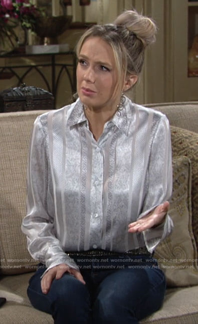 Abby's silver striped shirt on The Young and the Restless