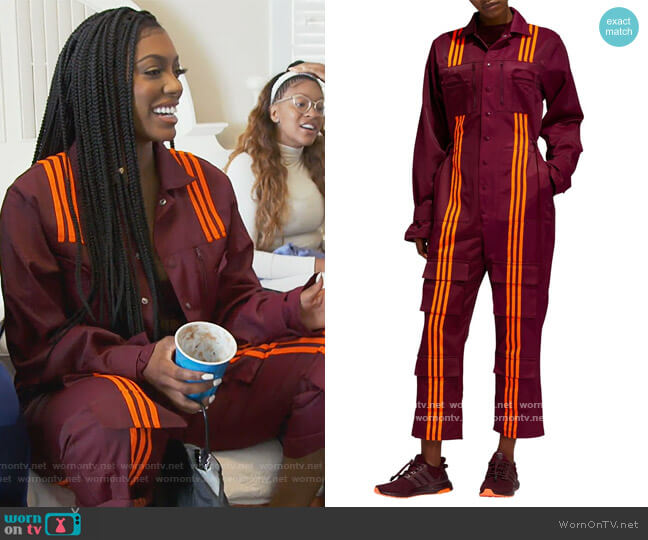 x IVY PARK Colorblock Jumpsuit by Adidas worn by Porsha Williams  on The Real Housewives of Atlanta