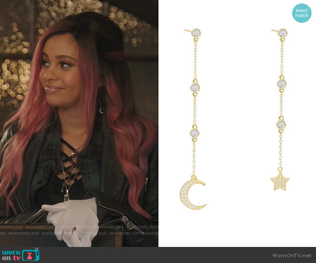 Celestial Mismatched Drop Earrings by Adina's Jewels worn by Toni Topaz (Vanessa Morgan) on Riverdale