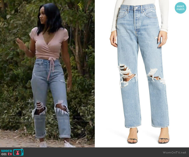 '90s Ripped Loose Fit Jeans by Agolde worn by Layla Keating (Greta Onieogou) on All American