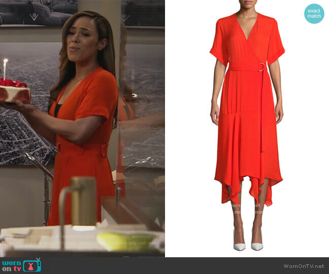 Claire Belted Handkerchief Silk Dress by A.L.C. worn by Emily Lopez (Jessica Camacho) on All Rise