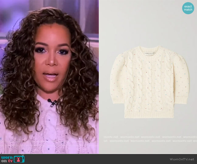 Embellished Alpaca-Blend Cable-Knit Cropped Sweater by Alessandra Rich worn by Sunny Hostin  on The View