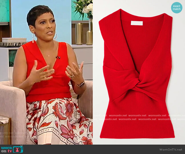 Twist-front ribbed wool top by Alexander McQueen worn by Tamron Hall  on Tamron Hall Show