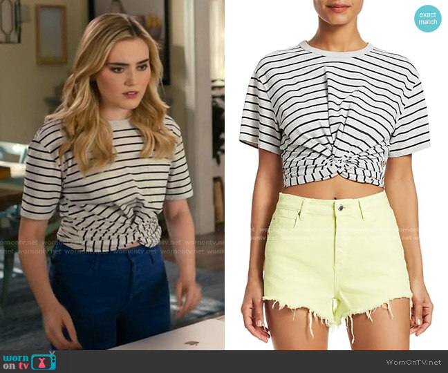 Striped Twist Crop T-Shirt by alexanderwang.t worn by Taylor Otto (Meg Donnelly) on American Housewife