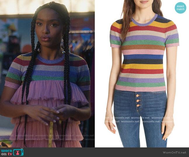 Baylor Stripe Top by Alice + Olivia worn by Zoey Johnson (Yara Shahidi) on Grown-ish