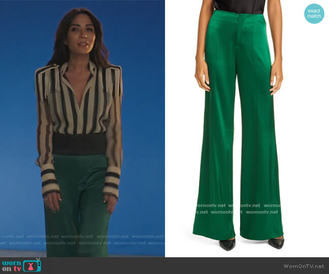 Dylan High Waist Wide Leg Satin Pants by Alice + Olivia worn by Hermione Lodge (Marisol Nichols) on Riverdale
