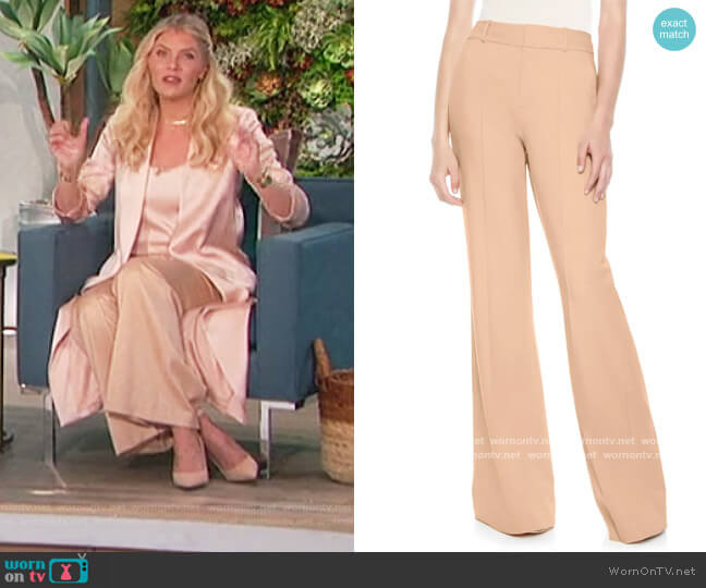 Paula Pintuck Slit Hem Wide Leg Wool Blend Pants by Alice + Olivia worn by Amanda Kloots  on The Talk