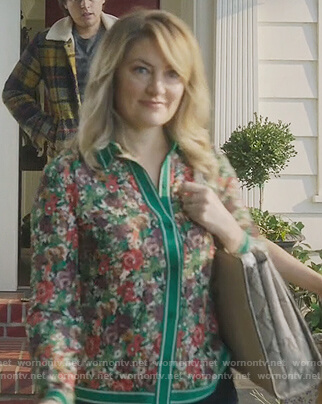 Alice's green floral contrast stripe blouse on Riverdale