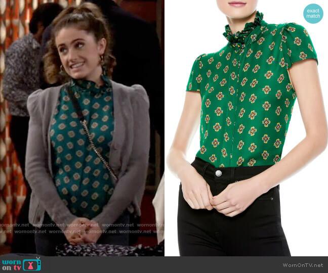 Alice + Olivia Juliette Ruffle Mock Neck Blouse worn by Jackie Raines (Rachel Sennott) on Call Your Mother