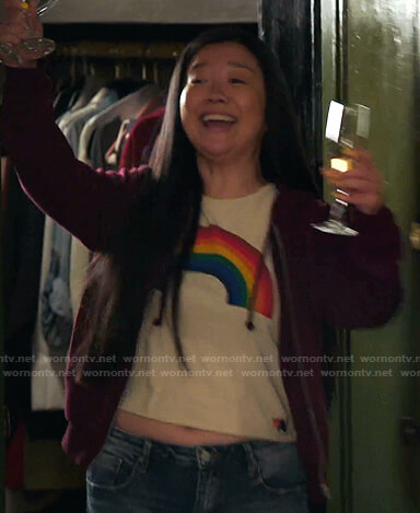 Alice's rainbow print tee on Good Trouble